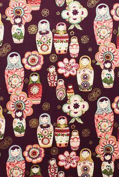 ZHIVAGO Nadya in Aubergine - Russian Matryoshka Dolls - Alexander Henry Fabrics - 1 Yard. $9.50, via Etsy.