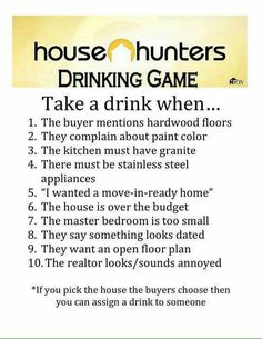 Ideas For House Party Drunk Drinking Games House Hunters Meme, Tv Show Drinking Games, Friends Drinking Game, Housewarming Party Games, Party Girl Quotes, Hunter Games, Friends Workout, Super Party, House Party