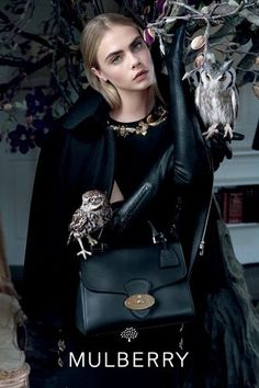 Cara Delevingne photographed by Tim Walker for Mulberry, Fall Owls are an occult symbol (think Bohemian Grove), and Cara Delevigne is probably a Monarch Beta Kitten. Tim Walker, Magazine Vogue, Cara Delevingne Style, Mulberry Bag, Mulberry Outlet, Fashion Advertising, Advertising Campaign, Campaign Posters, Mode Editorials