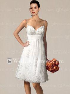 Informal short Second Wedding Dresses | Casual V-neck Short Wedding Dress with Lace ... | Beach Wedding Attir ...