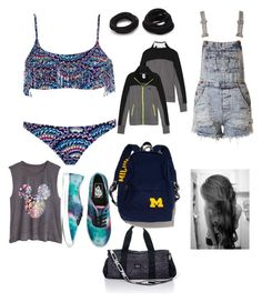 """""""Swimming practice after school"""" by kkhloe13 ❤ liked on Polyvore featuring Billabong, Vans, Victoria's Secret PINK and Forever 21"""