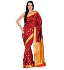Maroon Silk Kanjeevaram Saree | Fabroop USA | $146.99 |