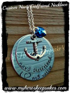 1a62140a1 Navy Girlfriend Custom 2 Disc Stainless Steel Hand Stamped Necklace with  Love Anchor   Blue Swarovski