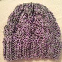 Chunky cable knit grey and purple beanie by chouboum on Etsy, $25.00 #etsy #knit #knitting #hat #purple #grey #handmade #beanie #accessories