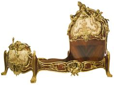 FRANÇOIS LINKE 1855 - 1946 A UNIQUE AND MAGNIFICENT GILT-BRONZE MOUNTED KINGWOOD, SATINÉ AND EMBROIDERED SILK DECORATED BED PARIS, CIRCA 1920'S, INDEX NUMBER 709, VERY POSSIBLY MADE FOR ALBINA RODRIGUEZ PATIÑO