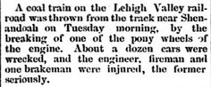 Genealogical Gems: On This Day: Coal train thrown off track near Shen...