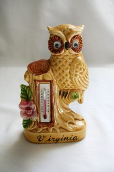 Vintage Yellow Ceramic Owl Thermometer For by StitchSwitch on Etsy, $10.00