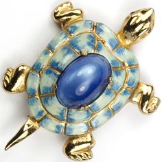 Coro Gold Enamel and Blue Moonstone Cabochon Turtle Pin