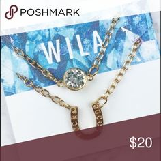 Good Luck Horseshoe Necklace Cute layered necklace with crystal and horseshoe charm. Wila Jewelry Necklaces