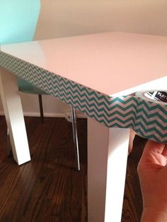 IKEA Lack table with cute duck tape edge - love it!