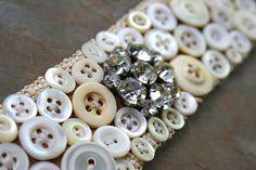 Vanilla Buttons  Handmade Vintage Cuff Bracelet door labellesavage, $59.00