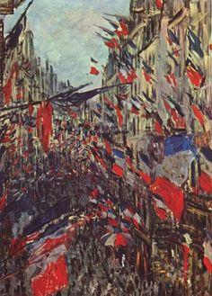 모네-공화주의자들의 축일 * 축제가 본 절정에 다다랐다.- 1878년은 파리가 세 번째 만국 박람회를 개최한 해다. 그 해에 프랑스 제 3공화국 정부는 6월 30일을 공화국 탄생을 기념하는 국경일로 정했다. 파리의 시민들은 공화주의를 찬양하며 모두 거리로 쏟아져 나왔다. 환희에 들뜬 사람들, 그리고 그 모습을 담기위해 거리로 향하는 화가들...민중적인 분위기에 도취되어 그들은 무아지경의 상태와도 같은 기분으로 이 그림을 그렸을 것이다. 넘실거리는 깃발과 북적대는 거리의 사람들은 프랑스 국기가 나타내듯 자유와 박애를 상징하고, 거리의 파라솔 조차 프랑스를 상징하는 3색으로 되어있는 것을 보며 가슴 벅찬 감동을 느끼지 않은 사람은 없을 것이다. 화려하고 도발적인 색체에 압도되지만 않는다면 마음껏 이 축제적인 분위기를 누릴 수 있다. 마치 나도 저 흥겨움에 도취되어 그들고 함께 거리를 누비고 싶은 것처럼 말이다.