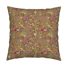 Catalan Throw Pillow featuring Golden Flowers by anniedeb | Roostery Home Decor