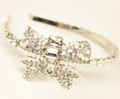 "Dramatic Rhinestone Bow Bridal Headband ~ ""Angelica"" - Bridal Hair Accessories, Wedding Headpieces, Bridal, Wedding, Hair Accessories, Headpieces, Combs, Clips, Hair Pins, Flowers, Headbands, Tiaras, Jewelry, Vintage, Beach - Hair Comes the"
