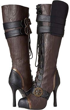 Ellie Shoes Women's 420 Quinley Knee High Steampunk Boot With Laces Steampunk Shoes, Mode Steampunk, Steampunk Dress, Steampunk Clothing, Steampunk Fashion Women, Sexy Boots, Lace Up Boots, High Heel Boots, Bootie Boots
