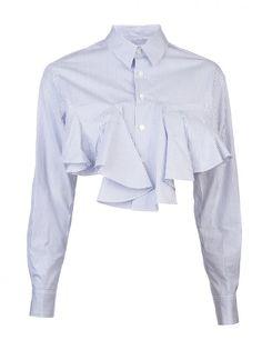 FACETASM - Cropped Ruffled Striped Shirt - AY-SH-W02 BLUE STRIPE - H. Lorenzo