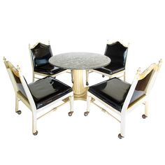Foster-McDavid Marble Top Game Table with Four Lounge Chairs | From a unique collection of antique and modern slipper chairs at https://www.1stdibs.com/furniture/seating/slipper-chairs/