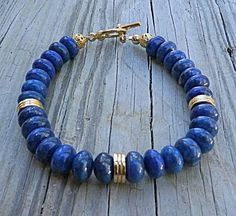 Genuine Grade AAA Lapis Lazuli Beaded by EurekaSpringsRocks, $48.50  Extra lovely bracelet, excellent quality stones and 18K gold vermeil