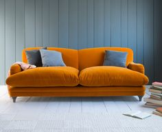 Pudding sofa in Burnt Orange plush velvet from Loaf