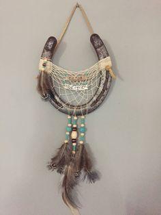 Items similar to custom horseshoe dreamcatcher on Etsy Horseshoe Projects, Horseshoe Crafts, Lucky Horseshoe, Horseshoe Art, Farm Crafts, Nativity Crafts, Country Crafts, Dream Catcher Boho, Dream Catchers