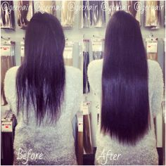 """The work of our GeeHair Supreme Clipin One Piece 22"""" 150 grams in shade #1B.. This transformation took seconds!... New stock online as of next week ;) #HairExtensions"""
