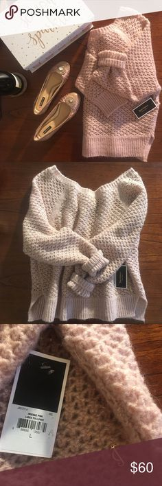 Juicy Couture Sweater Light pink and gold sparkly knitted Juicy sweater! My loss is your gain! Perfect holiday present for the girl who has everything 🥂 Juicy Couture Sweaters Crew & Scoop Necks