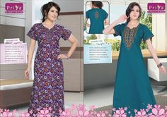 Nightgown for women 100% cotton wear double stitched colour fastness comfortable & good looking