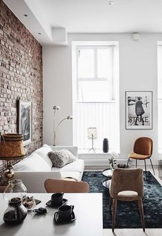 Apartment living room design furniture exposed brick Ideas for 2019 Brick Interior, Apartment Interior Design, Living Room Interior, Home Living Room, Apartment Living, Living Room Designs, Interior Ideas, Apartment Walls, Luxury Interior
