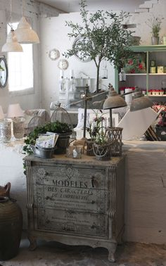 stencil french writing on painted furniture...paint old stove and use as end table...indestructible!!!