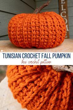 Crochet Pumpkin Pattern, Tunisian Crochet Patterns, Crochet Patterns For Beginners, Crochet Patterns Amigurumi, Crochet Stitches, Crochet Fall, Holiday Crochet, Halloween Crochet, Free Crochet
