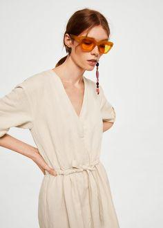 Belt linen dress | MANGO