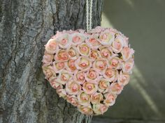 Pink paper flower  HEART kissing/pomander by happiestcreations