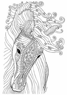 Horse coloring page - illustration by Keiti