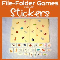 Little Family Fun: File-Folder Games: Stickers use 2 sets of same sticker to match stickers Quiet Time Activities, Toddler Activities, Learning Activities, Fun Learning, Sensory Activities, Classroom Activities, Early Learning, Classroom Ideas, File Folder Activities