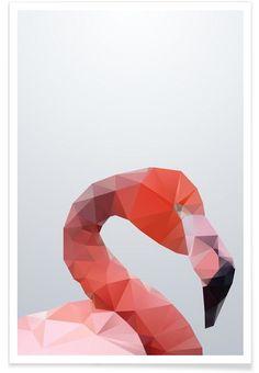 Geo Flamingo als Premium Poster door Three Of The Possessed | JUNIQE