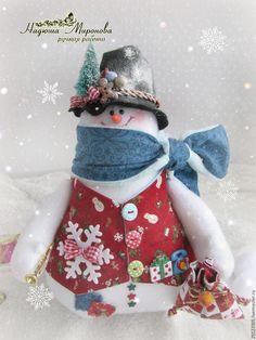 Купить снеговик с елочкой - белый, снеговик, снеговик в подарок, снеговик ручной работы, снеговик игрушка