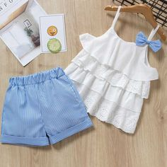 Plaid Lace + White Bow Shorts Baby Girls Clothing Sets — GoLive Shopping N… – Outfit Ideas for Girls Baby Dress Design, Baby Girl Dress Patterns, Dresses Kids Girl, Kids Outfits Girls, Toddler Outfits, Baby Outfits, Cute Outfits, Shorts For Girls, Emo Outfits