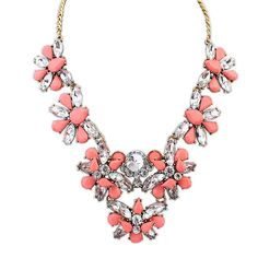 Courteney Adorable Floral Necklace £15.00  Some ladies like a little character in their accessories and this necklace is overflowing with it. The floral design is created using peach coloured stones alongside clear sparkling gems, which catch the light and turn heads wherever worn. Peach compliments a range of colours, making it easy to accessorize many different outfits.