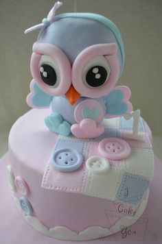 Baby girl first birthday cake. Little owl cake by i cake you. Baby Cakes, Baby Shower Cakes, Owl Cakes, Girls First Birthday Cake, Owl Cake Birthday, Fondant Cakes, Cupcake Cakes, Bolo Chanel, Novelty Cakes