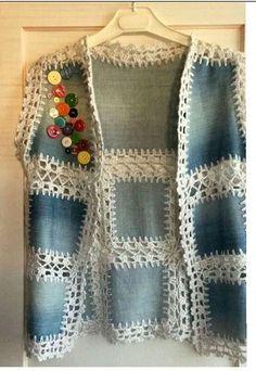 De moda con chalecos de ganchillo de mujer - Ropa a crochet - Crochet Jacket, Crochet Blouse, Crochet Vests, Pull Crochet, Knit Crochet, Irish Crochet, Form Crochet, Crochet Quilt, Knitting Patterns