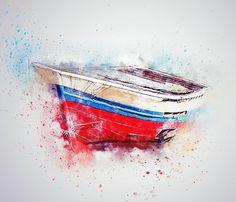 Boat, Sea, Ship, Art, Abstract