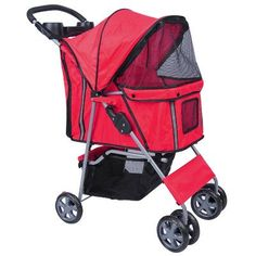 MDOG2 MK0034 4-Wheel Front and Rear Entry Pet Stroller, Red * Check out the image by visiting the link.