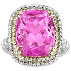 9.99 Carats Pink Cuprian Tourmaline Diamond Gold Platinum Ring