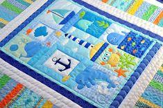 """Купить Детское лоскутное одеяло (покрывало) """"По морям, по волнам!!"""" - детское одеяло, детское покрывало"""