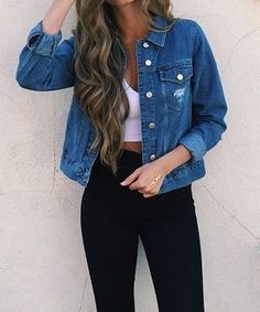 This is a great casual outfit, you can never go wrong with neutrals and a jean jacket!