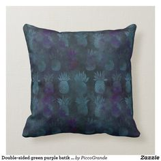 Double-sided green purple batik style and custom throw pillow Personalized Buttons, Batik Pattern, Pillows Online, Pineapple Pattern, Home Decor Online, Custom Pillows, Green And Purple, Throw Pillows, Interior