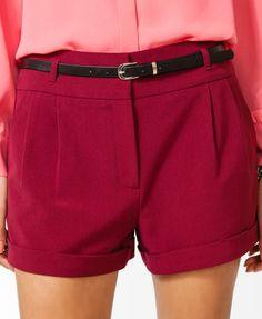 Pleated Woven Shorts w/ Belt