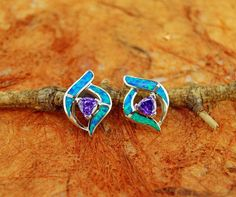 Silver Stud Earrings with Opal Inlay and Center by Silvershowroom