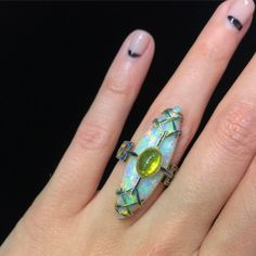 Oh man. I got to try on this beauty from @selectantiquejewelry at the #MiamiAntiqueShow and worst part is it fit like a glove. 😩😍😍😍 Ring is Art Nouveau by George Fouquet -- the band has such a unique design that is enameled all the way around. _____ #OMAS2017 #OMBAS #antiquering #showmeyourrings #ringsofinstagram #artnouveau #opalring