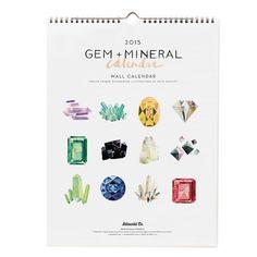 Gem Mineral 2015 Wall Calendar by IdlewildCo on Etsy